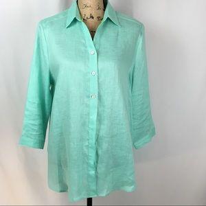 NWOT Linen 3/4 Sleeve Blouse in Aqua Color sz L